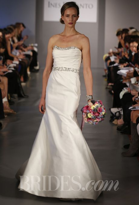"""This was my gown!  Brides.com: Ines Di Santo - Spring 2014. """"Adeline"""" strapless ivory silk mikado slashed shantung wedding dress with asymmetrical pleating at bodice and skirt, featuring a trumpet silhouette and elegant beaded band at waist, Ines Di Santo"""