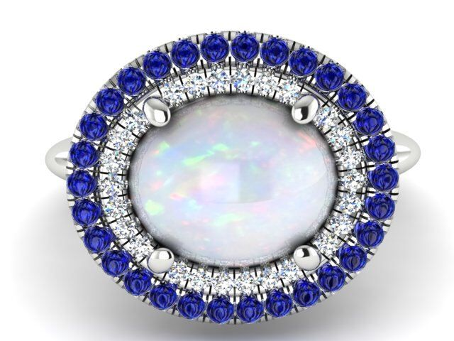 Wedding And Engagement Rings, Diamond Rings, Opal With Blue Sapphires And Diamonds Ring, White Opal Engagement Ring, Diamond Proposal Ring by BridalRings on Etsy https://www.etsy.com/listing/257971350/wedding-and-engagement-rings-diamond