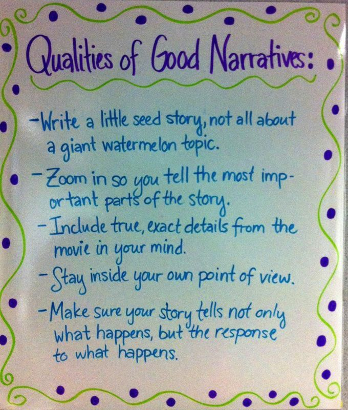 Qualities of good narratives -- follows Lucy Calkins' Launching gr 3-5