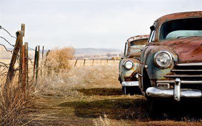 Scarica sfondi campo, recinzione, vecchie auto