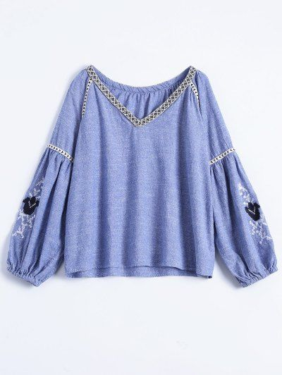 SHARE & Get it FREE | Embroidered Puff Sleeve Top - BlueFor Fashion Lovers only:80,000+ Items • New Arrivals Daily Join Zaful: Get YOUR $50 NOW!