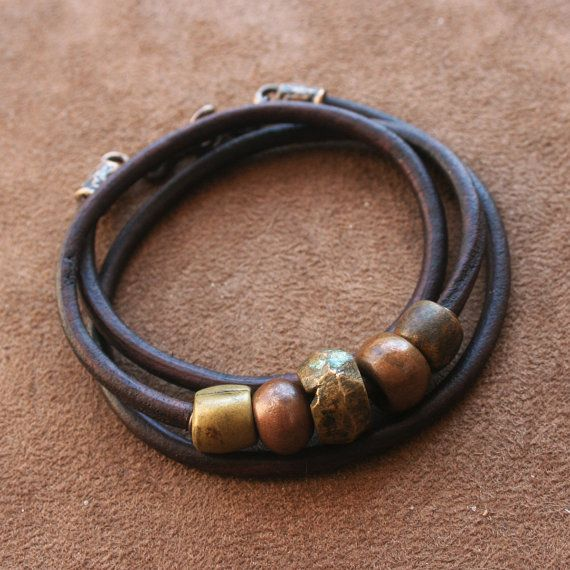 Antique African Beaded Leather Bracelet, Solid Bronze Dark Brown Rustic Copper Brass Wrap Around