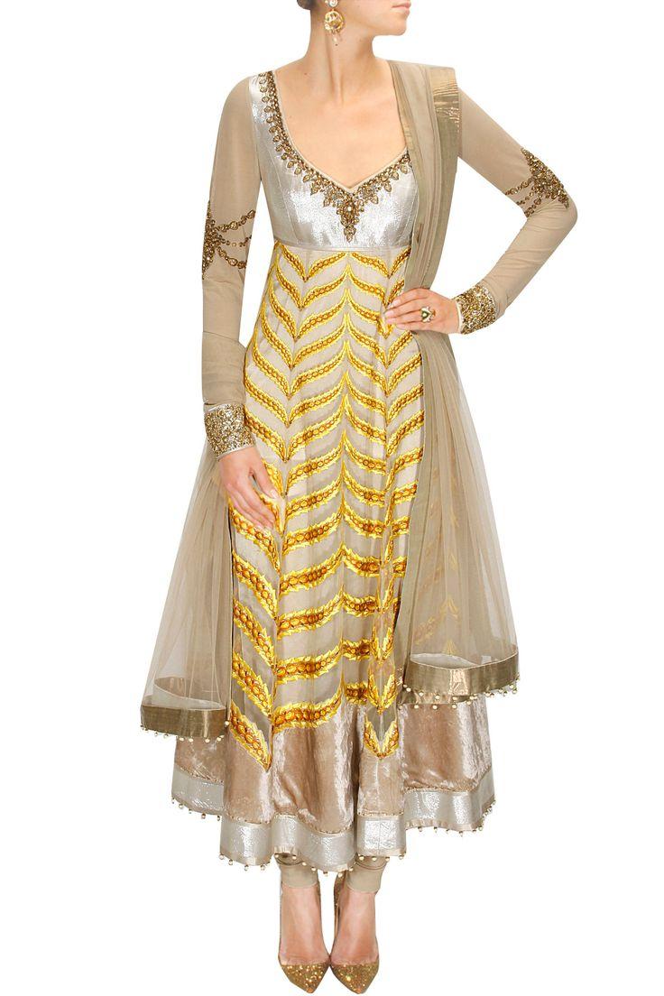 Gold and silver applique work anarkali set by JJ Valaya. Shop now: www.perniaspopups.... #jjvalaya #clothing #designer #shopnow #happyshopping #perniaspopupshop