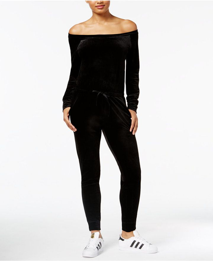 Material Girl Active Juniors' Velour Jumpsuit, Created for Macy's