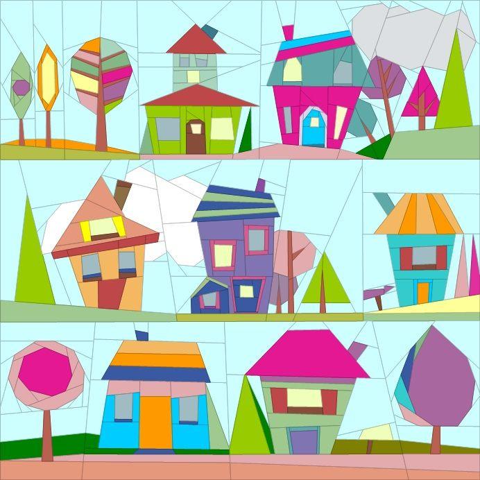 "Wonky Houses Wall Hanging 36"" - paper piecing quiltartdesigns.blogspot.com"