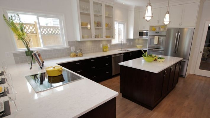 Property Brothers   White uppers, dark lower cabinets with white quartz countertops