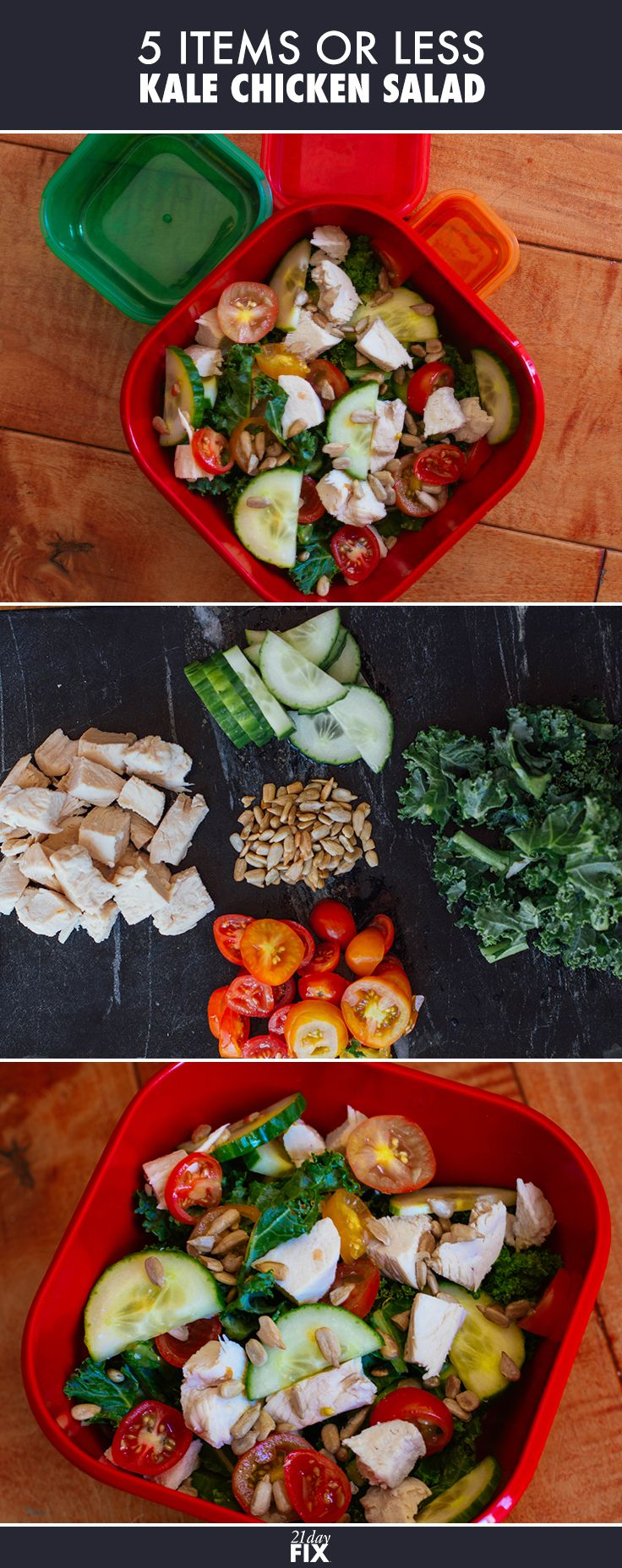 Not only is this salad delicious & easy to make, it's also packed with Vitamin A, Vitamin C, and Protein! Sounds like a ‪#‎21DayFix‬ Win to us.  Ingredients:  1 cup chopped fresh kale ¼ cup chopped tomato ¼ cup sliced cucumber 4 oz. cooked chicken breast, boneless, skinless, sliced 1 Tbsp. raw sunflower seeds  // Recipe // 21 Day Fix // Salad // Eat Clean // Fit Food // Fitness // Healthy Eating // Clean Eating // Recipes //