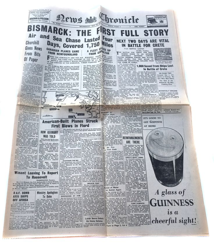 1941 News Chronicle The Sinking of the Bismarck Torpedo by HMS Dorsetshire & The Battle For Crete WWII Military Newspaper James Somerville by BiminiCricket on Etsy