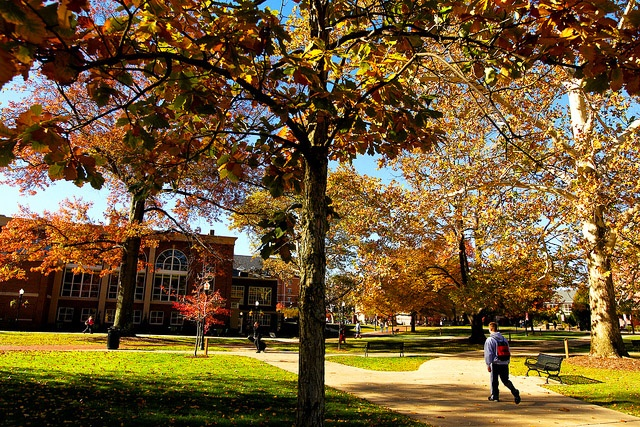 A student walks toward Herron Hall on an autumn morning. Originally built in 1932, Herron Hall was renovated in 2009 and is the location of Cal U's recreation and fitness center. #caluofpa