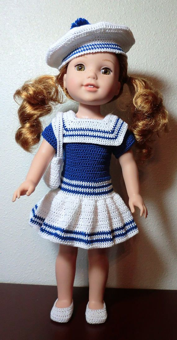 "This is for the ""PATTERN"" only Not the completed item Fits the Wellie Wisher Dolls. (14 1/2"" with vinyl slim body) Will not fit American Girl 18"" dolls. The outfit was made using size 10 cotton thread , and a size 7 steel hook (1.65 mm). I used Aunt Lydias. The dress closes down the back with Velcro or snaps. It has short sleeves, full skirt and sailor type collar. The tam hat is decorated with an optional pom pom. Shoes slide on and a shoulder bag completes the set. Any little lady wo..."