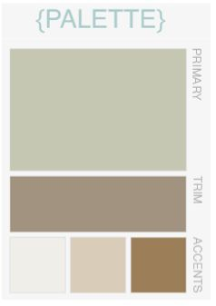 Color palette I want to use! Living room wall color is sage green, mushroom/tan in the hallway, white trim, and espresso accents.