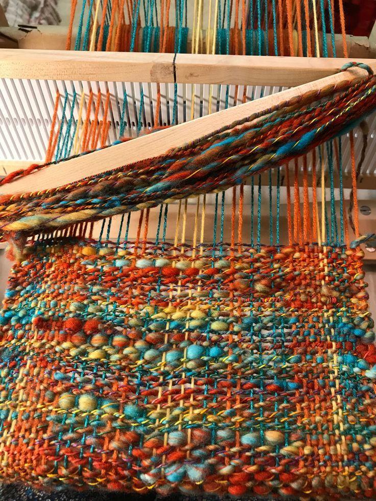Weaving handspun yarn on a rigid heddle loom.