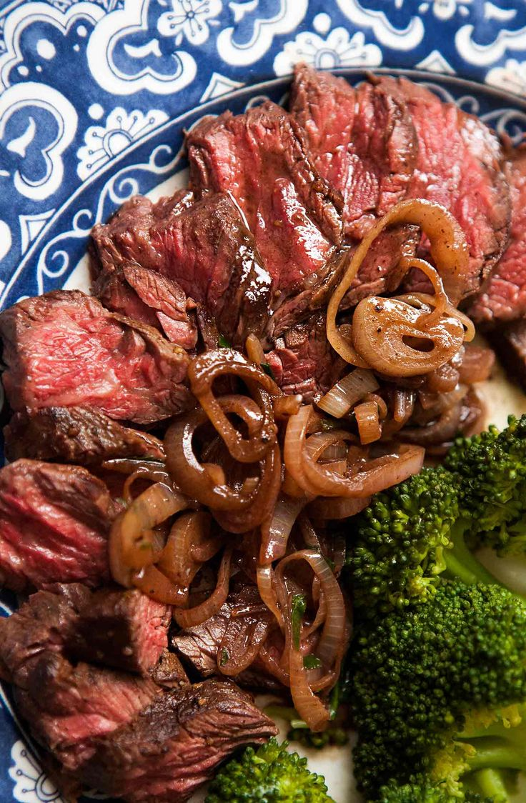 Tender juicy hanger steaks! With sautéed shallots in a butter and wine sauce. Quick and easy, low carb and gluten-free. Perfect for a special dinner.