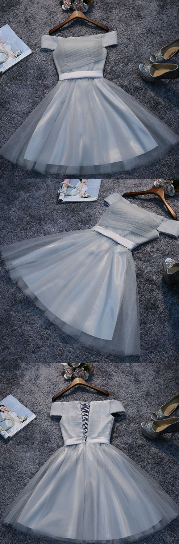 of girl | Cute gray tulle short A line prom dress, homecoming dress | Online Store Powered by Storenvy