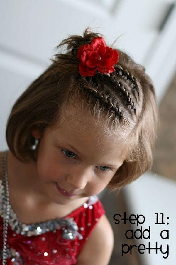 Braided hairstyle for short hair - Girls Bangstriple Dutch Braids  /  via
