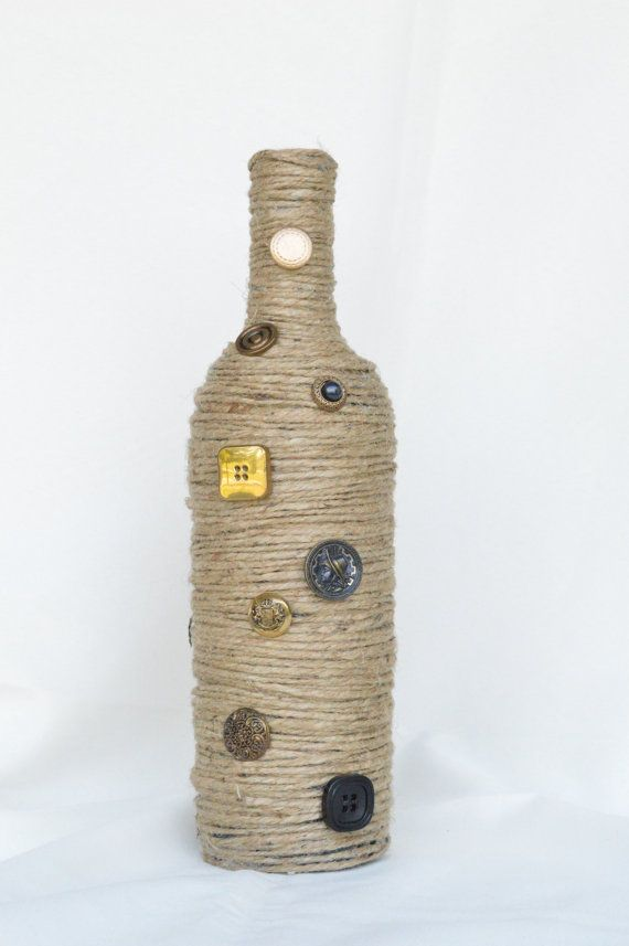 Jute Twine Wrapped Wine Bottle with Vintage Black and Gold Buttons - Country Primitive Decor - Rope Wrapped Bottle by MimisCountryBoutique, $15.99
