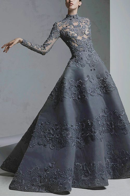 Ashi Studio divine grey bridesmaid gown, sheer lace sleeves, exotic, whimsical lace appliqués, stunning! Enjoy RUSHWORLD boards, THE HAPPY BRIDESMAID- DRESSES THEY WILL WEAR AGAIN, WEDDING GOWN HOUND and UNPREDICTABLE WOMEN HAUTE COUTURE. Follow RUSHWORLD! We're on the hunt for everything you'll love!