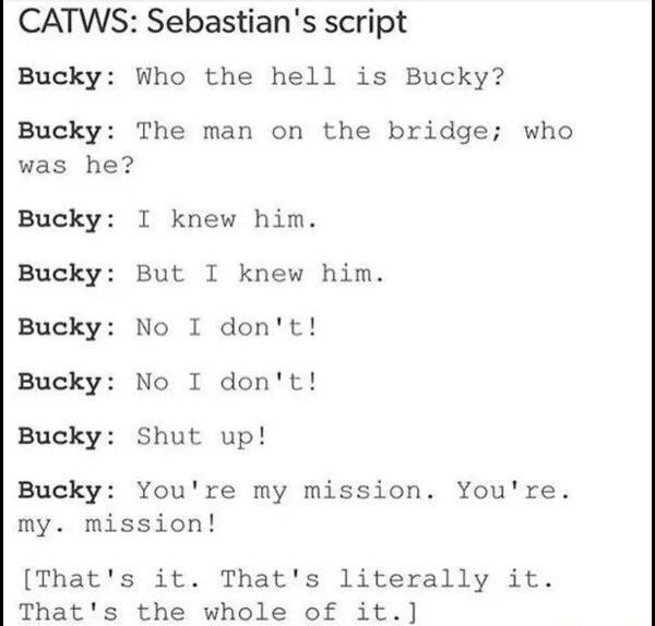 but Seb is such a good actor he pulls it off without dialouge. That's my boy.