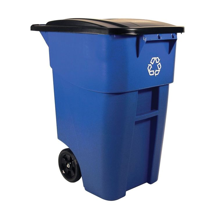 Trash Can Garbage Outdoor Recycler Rollout Trash Can Hinged Lid,50 Gallon Blue…