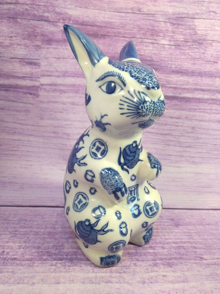 Blue and White Delft Asian Style Porcelain Bunny Rabbit Figurine Statue Decor 8″…