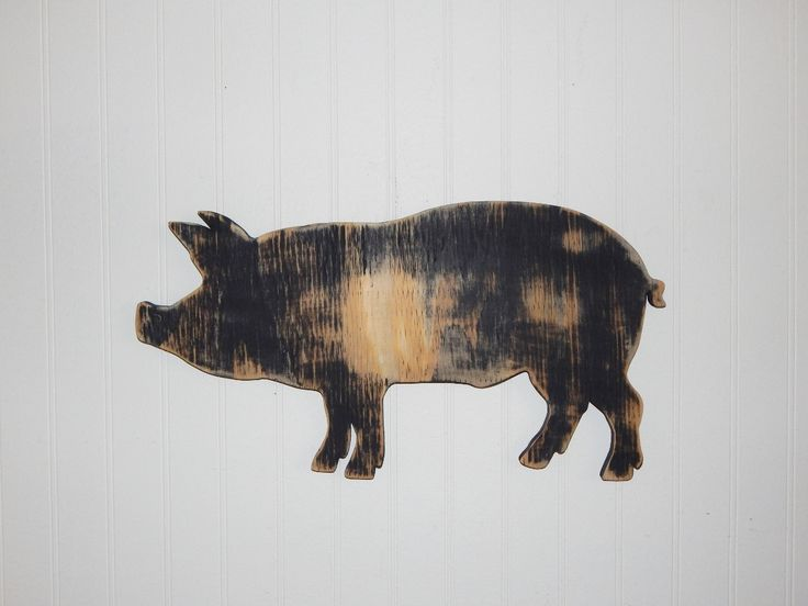 Pig Sign Wall Decor Farmhouse Country Decor Wooden Pig Kitchen Decor by HensNestTreasures on Etsy