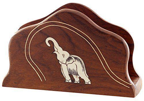 SouvNear Porte-serviettes en Bois / Support de Plaque de papier – Décoratif Centre de Table avec Tronc jusqu'à motifs d'éléphants –…