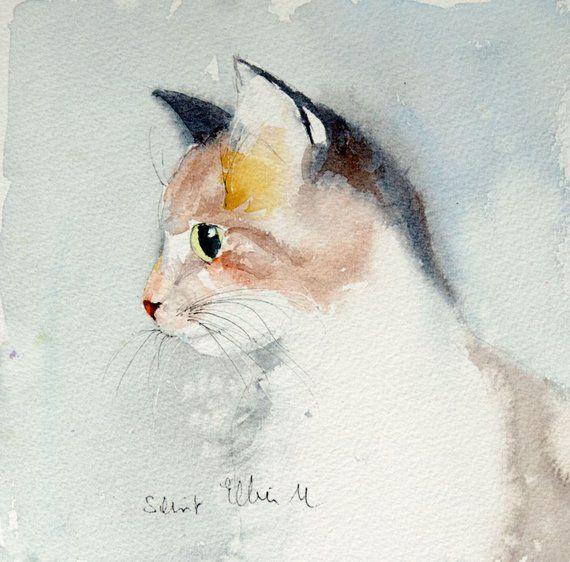 Cat Portrait Original Painting Original Watercolor Of A Cat Pet