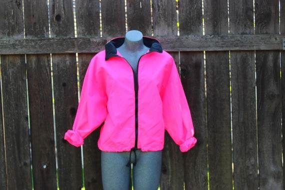 Check out this cool 90s hot pink nylon windbreaker.  Available at https://www.etsy.com/listing/519022369/vintage-windbreaker-hot-pink-1990s-style