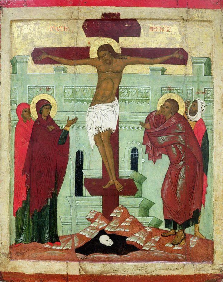 Новгородская Школа - Распятие с Девой Марией, Марией Магдалиной, святым Иоанном и центурионом Лонгином