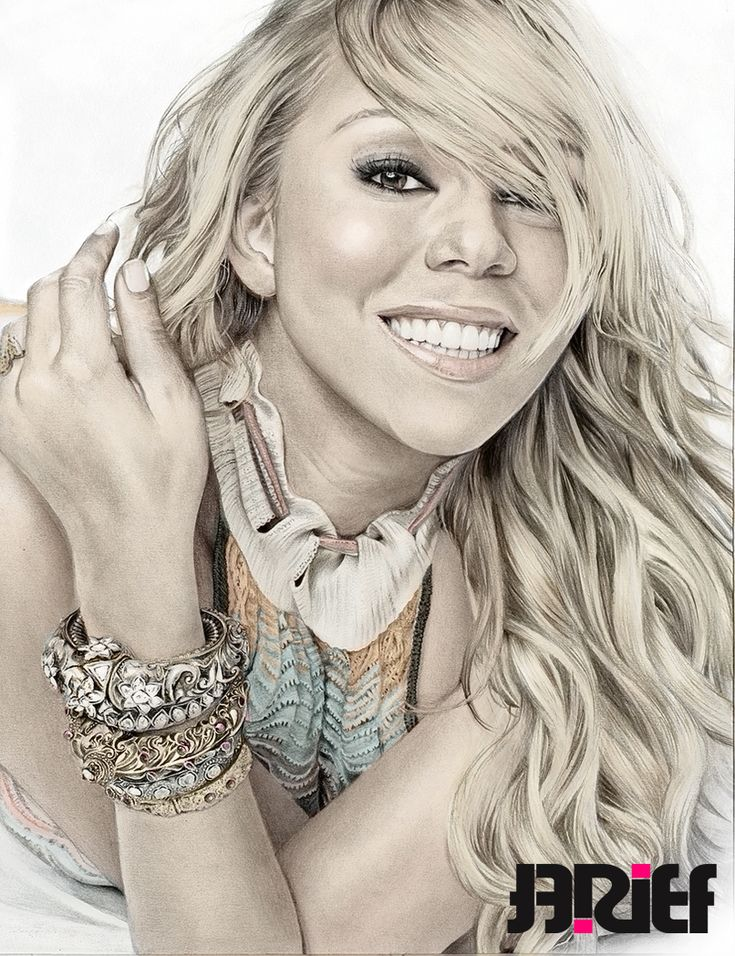 Mariah Carey Glamor Color by riefra on deviantART ~ pencil portrait colored in photoshop ~ artist Arief Kurniawan