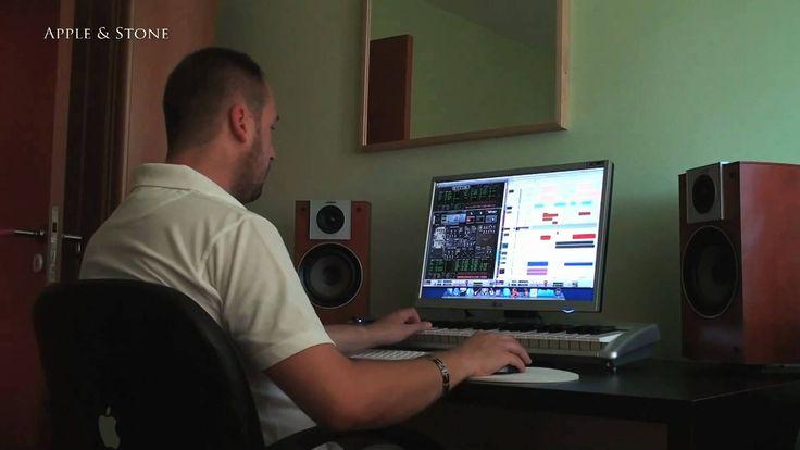 Apple & Stone in home studio working on some music. It was in early 2008. Working on some music using Mac Mini, software Reason 4 & M-Audio.