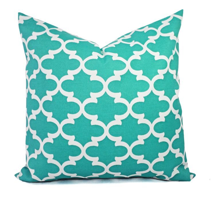 Two Indoor Outdoor Pillow Covers - Quatrefoil Pillow Covers - Aqua Pillow - Teal Pillow Covers - Patio Pillow - Moroccan Tile Pillow by CastawayCoveDecor on Etsy https://www.etsy.com/listing/220756449/two-indoor-outdoor-pillow-covers