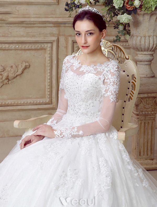 Gorgeous Wedding Dresses 2016 A Line Scoop Neckline Long