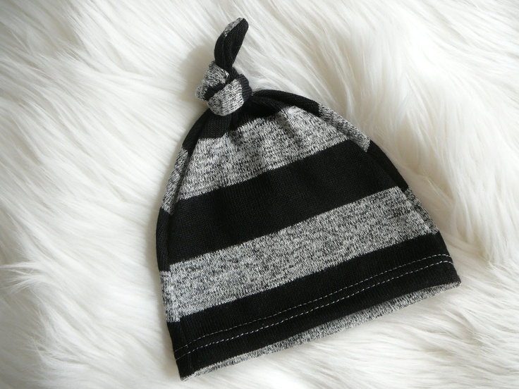Boy Hospital Hat, Black and gray stripes. Soft stretchy knit material.  Made by lippybrand.  READY TO SHIP. $12.00, via Etsy.