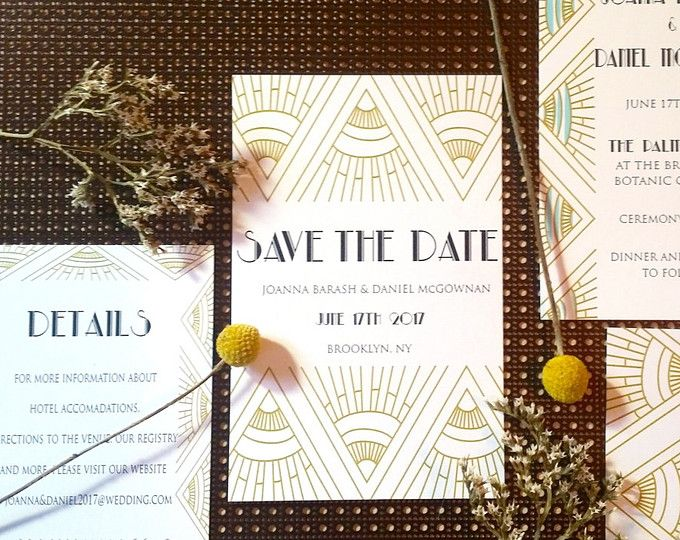Art deco Invitation suite, art deco bohemian wedding invitation suite, vintage wedding invitations