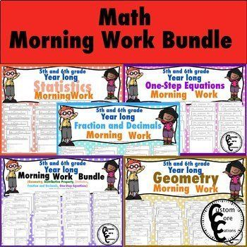 This Math Morning Work Bundle has all of the math morning work for 5th and 6th grade that is in my store. The Bundle includes Geometry This 6th grade Geometry Morning Work/Supplement is a great resource to enhance your