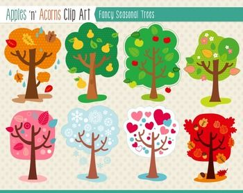 Fancy Seasonal Trees Clip Art - color and outlines $