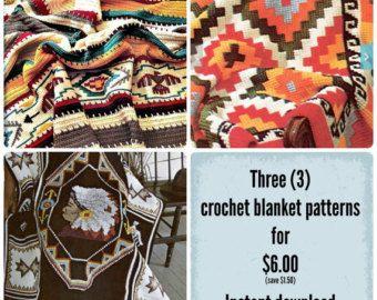 Earthy Geometric Indian Afghan Crochet Pattern by PearlShoreCat