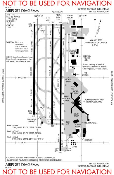 Airport Runway Layout Diagrams | Description KSEA airport diagram.svg
