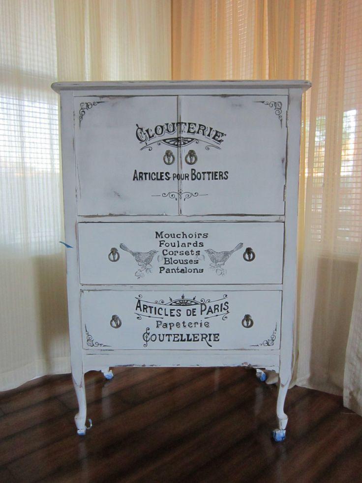Vintage Antique 4 Drawer Shabby Chic White Handpainted Clouterie Parisian Dresser. $750.00, via Etsy.
