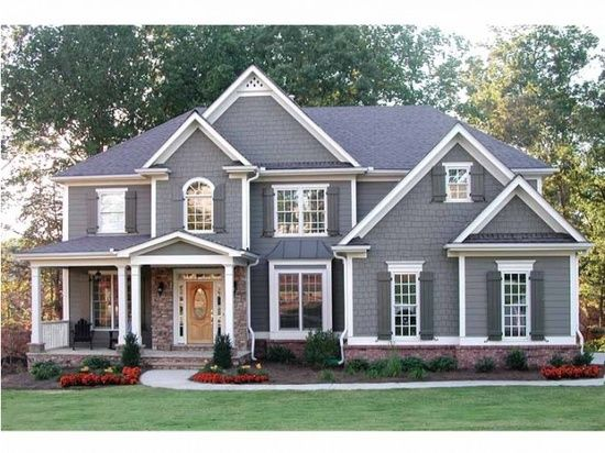 gray colonial home.Love the vaulting and color