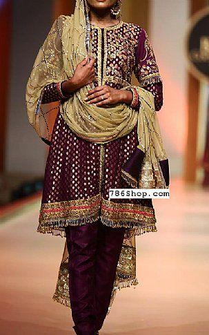 3339efb676 Plum Jamawar Chiffon Suit | Buy Pakistani Designer Fashion Dress | Party  dreess | Dresses, Fashion dresses, Designer party dresses