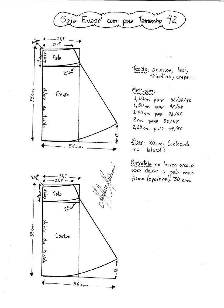 Esquema de modelagem de Saia Evasê com Pala tamanho 42.