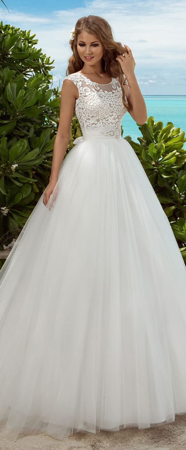 Marvelous Lace Scoop Neckline See-through A-line Wedding Dresses With Sash