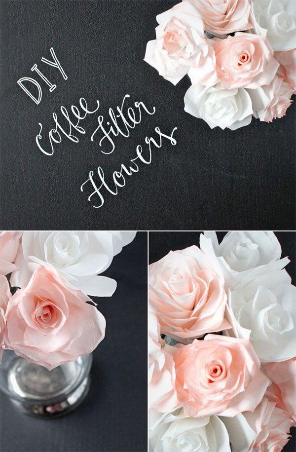 DIY wedding centerpiece idea!  Coffee filter flowers.