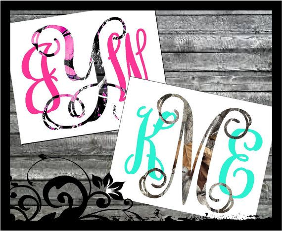 "3"" tall ""Muddy Girl Camo, Pink Mossy Oak, Shadow Grass, Mossy Camo "" Monogram Decal - Initals; vinyl decals; camoflauge car decal; cute camo"