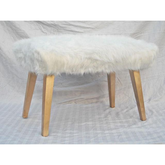 image of white faux fur ottoman