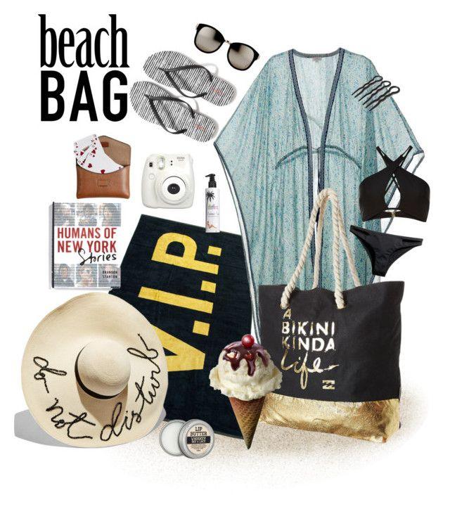 """Beach bag"" by edige ❤ liked on Polyvore featuring Talitha, Billabong, River Island, H&M, Million Dollar Tan, Linda Farrow, Macmillan, Old Navy, Eugenia Kim and Burberry"