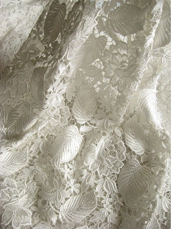 White Crocheted Bridal Gown Fabric Antique Lace Fabric with Retro Roses Floral Leaves