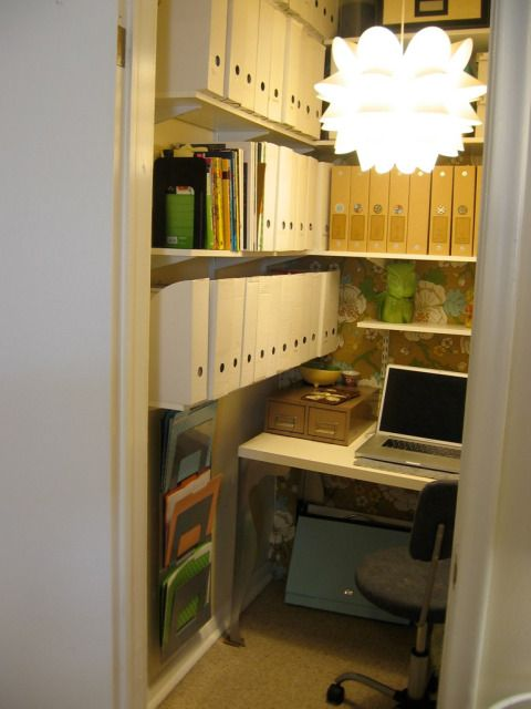 """Yep, but have to turn it sideways...no """"back to the door""""!   Home Office, in a tiny closet!   sarah-ehlinger-home-office"""